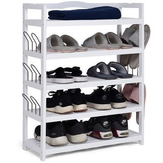 Costway 5-Tier Wooden Shoe Rack Shelf Storage Organizer Entryway W/ 6 Shoe Stretcher White