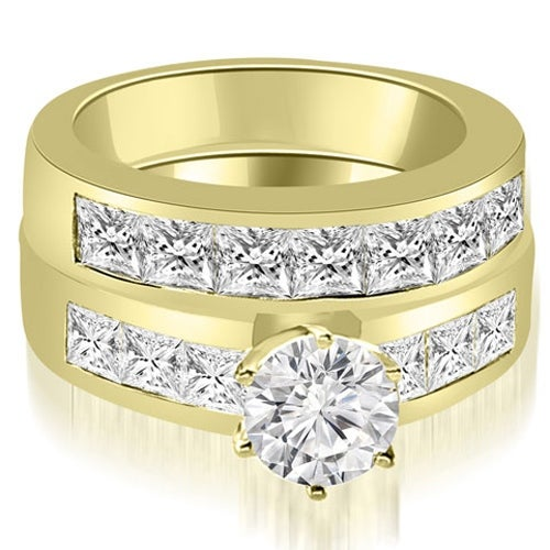 3.15 cttw. 14K Yellow Gold Channel Set Princess Cut Diamond Bridal Set