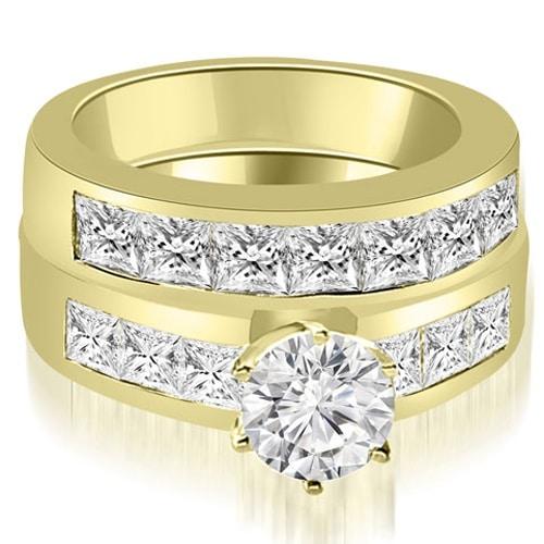 3.40 cttw. 14K Yellow Gold Channel Set Princess Cut Diamond Bridal Set