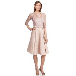 Teri Jon Sequined Lace Satin 3/4 Sleeve Cocktail Dress - 12