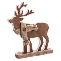 "9.5"" Country Cabin Brown Standing Reindeer Christmas Table Top Piece Decoration"