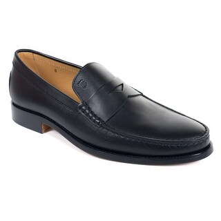 Tods Mens Classic Black Leather Penny Loafers