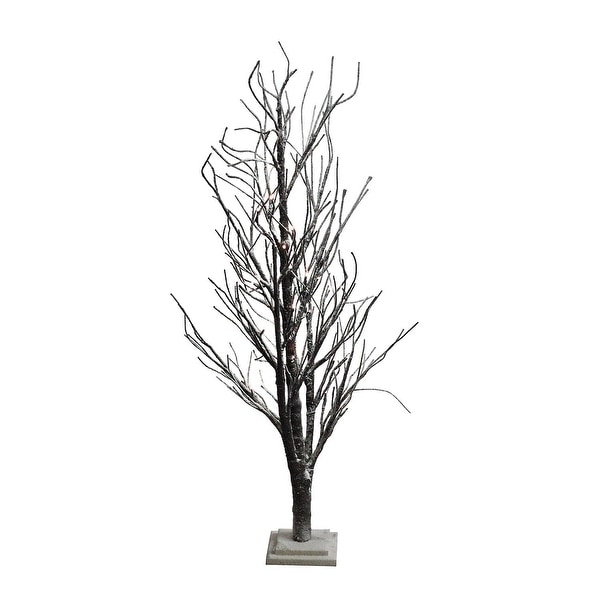 4' LED Lighted Frosted Brown Twig Tree Table Top Decoration - Warm Clear Lights