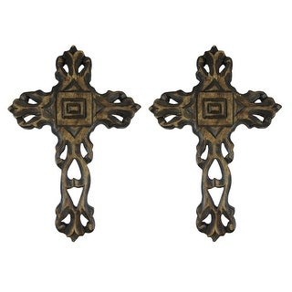 12 Inch Hand Carved Wooden Wall Cross Set of 2