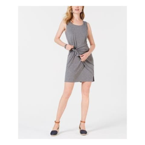 STYLE & COMPANY Gray Sleeveless Mini Shirt Dress Dress Size PXL