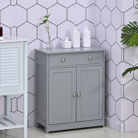 kleankin Freestanding Bathroom Storage Cabinet Organizer Floor Tower with 2 Door, 2 Drawers, Adjustable Shelf, Grey