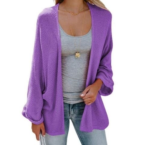 Open Front Long Sleeve Knit Cardigans Sweater Blouses