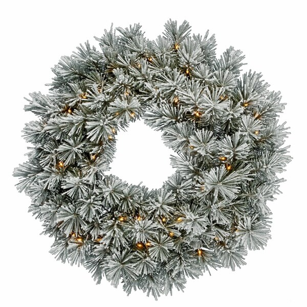 """30"""" Pre-Lit Flocked White Pine Artificial Christmas Wreath - Clear Dura Lights"""