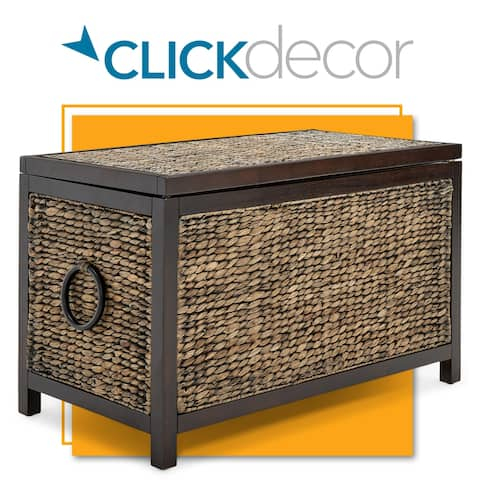 ClickDecor Wilson Storage Trunk, Black Wicker