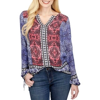 Lucky Brand Womens Peasant Top Printed Long Sleeves