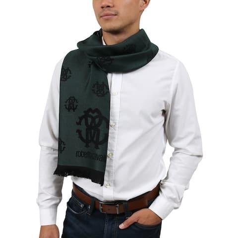 Roberto Cavalli ESZ051 04000 Green Wool Blend Logo Mens Scarf - 40