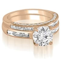 2.38 cttw. 14K Rose Gold Round And Baguette Cut Diamond Bridal Set