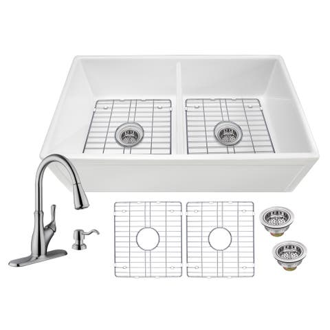Soleil All-In-One White Fireclay Picture Frame/Plain Reversible 50/50 Double Bowl Apron Front Kitchen Sink with Pull Out Faucet