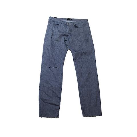 Buffalo David Bitton Navy Ripped Skinny Railroad-Striped Jeans 32