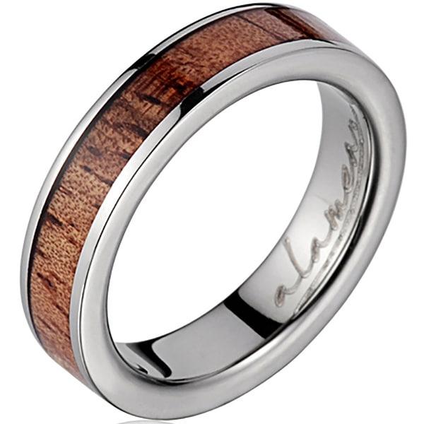 Titanium Wedding Band With Koa Wood Inlay 4 mm