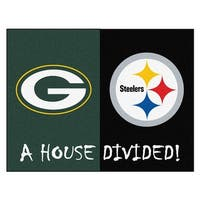 NFL  House Divided - Packers / Steelers House Divided Non-Skid Mat Rectangular Area Rug