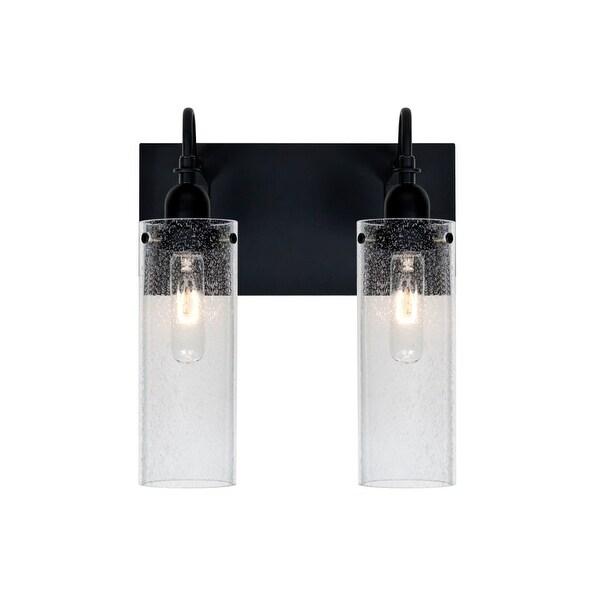 Besa Lighting 2WG-JUNI10CL Juni 2 Light Vanity Strip with Clear Bubbled Glass Shades - Black