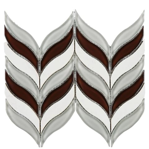 TileGen. Leaf Random Sized Marble Mix Glass Mosaic Tile in Wine Red/Beige/White Wall Tile (10 sheets/7sqft.)