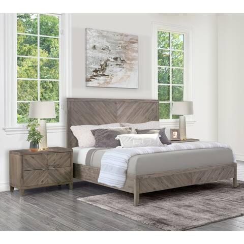 Abbyson Felix Weathered Grey Chevron 3-piece Bedroom Set