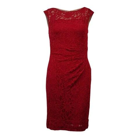 Lauren Ralph Lauren Women's Sleeveless Lace Ruched Sheath Dress