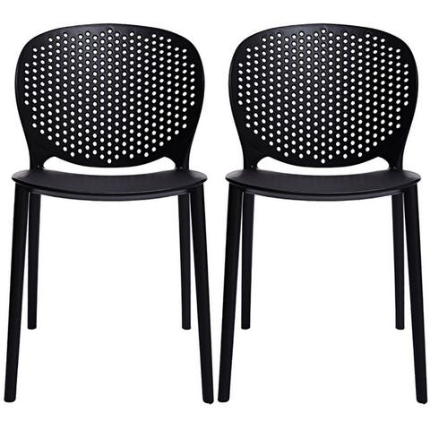 2xhome Set of 2 Designer Armless Stacking Dining Side Chairs Molded Matte For Kitchen Desk Garden Patio with Back Outdoor
