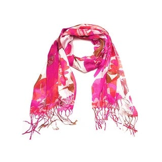 Women's Fashion Floral Soft Wraps Scarves - F2 Hot Pink - Large