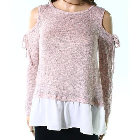 Moa Moa Pink White Womens Size XS Cold Shoulder Peplum Knit Top