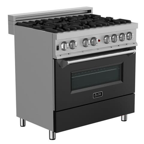 "ZLINE 36"" Dual Fuel Range in DuraSnow® Stainless Steel - Black Matte Door"