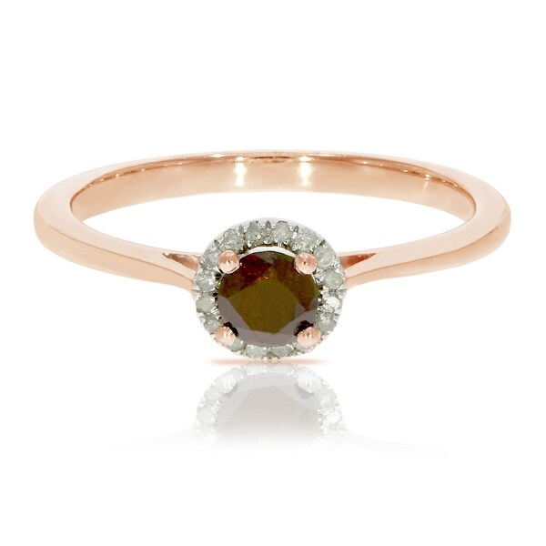 0.37 Ctw Classic Round Diamond Engagement Ring W/ 0.30 Carat Cognac Diamond Halo Ring