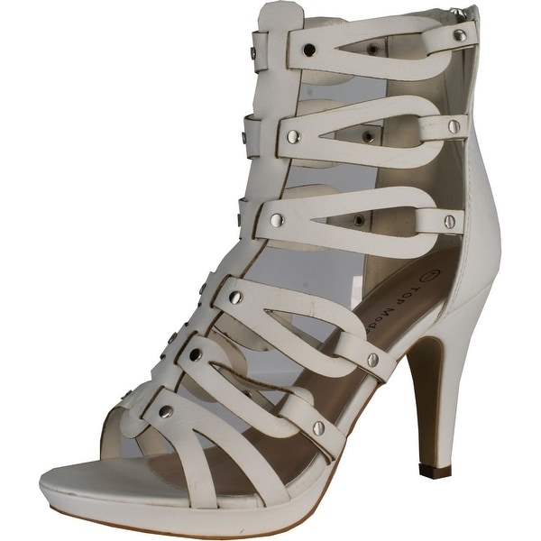 Top Moda Women's Spin-28 Gladiator High Heel Sandals - Beige