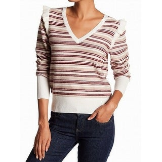 Joie NEW Beige Womens Size Medium M V-Neck Wool Striped Ruffle Sweater