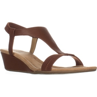 A35 Vacanza Square Toe Wedge T-Strap Sandals, Cognac