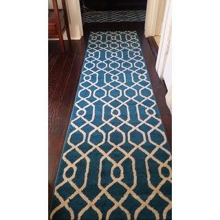 Modern Trellis Pattern Blue Runner (2'x7'2)