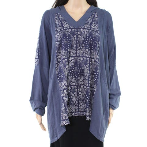 Style & Co. Womens Hoodie Blue Size 2X Plus V-Neck Paisley Waffle Knit