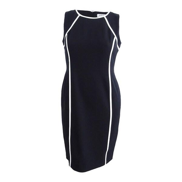 423d6bb18b5 Shop Kasper Women s Plus Size Contrast-Trim Sheath Dress - Black Vanilla  Ice - 24W - On Sale - Free Shipping Today - Overstock - 25560610