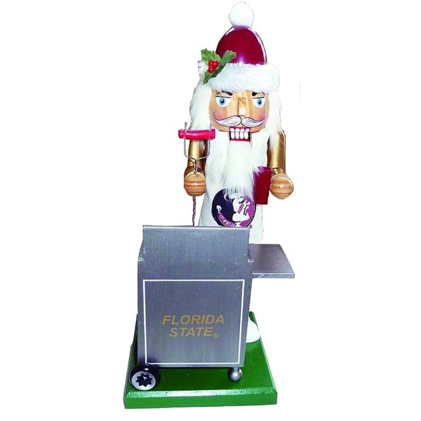 "12"" NCAA Florida State Seminoles Sports Tailgating Wooden Christmas Nutcracker - WHITE"