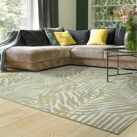 Indoor/Outdoor Palmiero Tropical Palm Leaves Area Rug