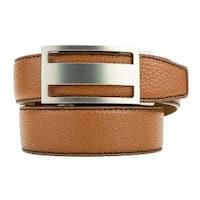 Nexbelt Classic Pebble Grain Cognac Leather Strap Dress Belt