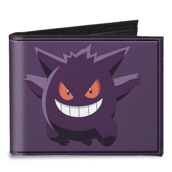 Gengar Pose1 + Pose2 Corner Purples Canvas Bi Fold Wallet One Size - One Size Fits most