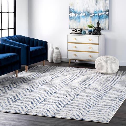 nuLOOM Blue Contemporary Vintage Ombre Aztec Nina Trellis Print Area Rug