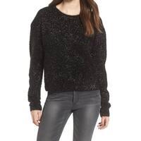 ASTR NEW Black Women's Size XS Eyelash Knit Metallic Scoop Neck Sweater