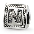 Sterling Silver Reflections Letter N Triangle Block Bead (4mm Diameter Hole) - Thumbnail 0