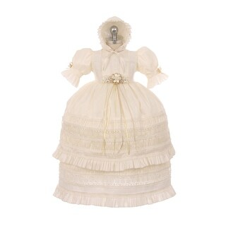 RainKids Baby Girls Ivory Shantung Trim Ruffle 3 Pc Bonnet Baptism Gown