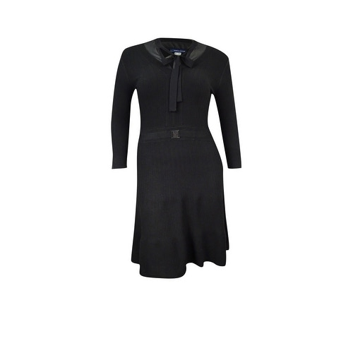 7d42e2ab34b Shop Tommy Hilfiger Women s Layered Ribbed Sweater Dress - Black - On Sale  - Free Shipping On Orders Over  45 - Overstock - 18303496