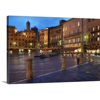 Premium Thick-Wrap Canvas entitled Piazza Del Campo at dusk, Siena, Italy