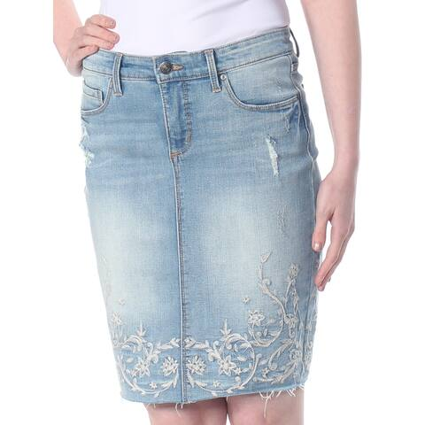 VINTAGE AMERICA Womens Blue Embroidered Denim Above The Knee Skirt Size: 2
