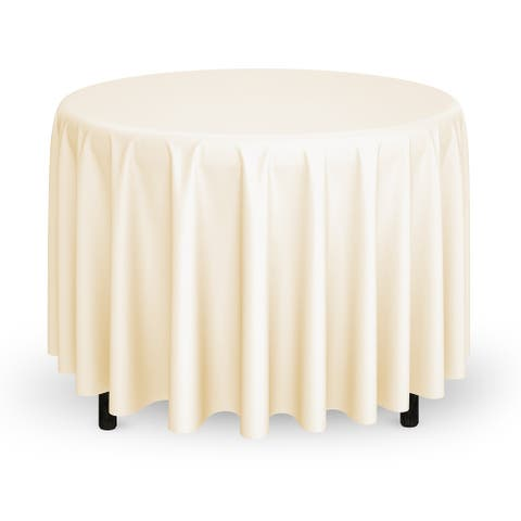 """10-Count 132"""" Premium Round Tablecloth - Ivory by Mill & Thread"""