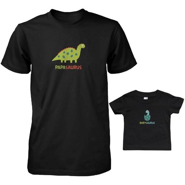 Papasaurus and Babysaurus Dad and Baby Matching T-Shirts