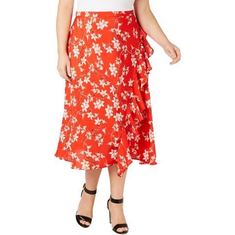 Calvin Klein Womens Plus Midi Skirt Floral Ruffled - Red Multi