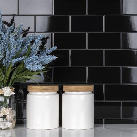 SomerTile 3 x 6-Inch Crown Heights Glossy Black Ceramic Wall Tile